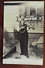 Musician VIOLIN PLAYER c.1918 Real Photo Postcard with brocade vest & watch fob