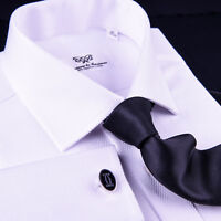 White Herringbone Twill Dress Shirt Business Formal French or Button Cuff Style
