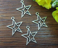 10pcs Pentagramme Tibetan Silver Bead charms Pendants DIY jewelry 23x20mm