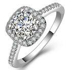 Women Lady Cubic Zirconia Rhinestone Silver Plated Wedding Ring Size 5-8 Jewelry