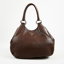 Prada Brown Vitello Daino Leather Top Handle Hobo Bag