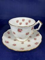 AYNSLEY TEA CUP AND SAUCER, FINE BONE CHINA MADE IN ENGLAND, DOTS OF ROSES!!