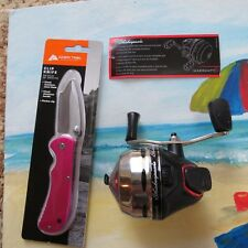 Shakespeare Metal Gears & Stainless Cone fishing reel & pink  knife (lot#11851)