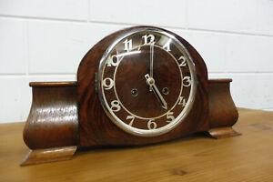 Antique German Mantel Clock Table Clock Oak Wood