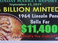 1964 P & 1964 D BU LINCOLN MEMORIAL CENT ROLLS $3000-$14500 1-ORDER GETS BOTH