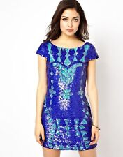 Little Mistress All Over Sequin Embellished Dress in Multi Purple/Blue UK10 (ZZ)