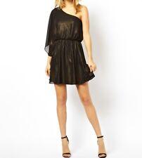 Womens One Shoulder Drape Dress Evening dress Black uk Size 8 & 12 Tops