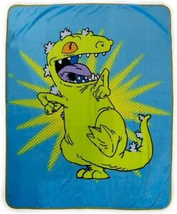 New Reptar Rugrats Plush Fleece Throw Blanket GIFT Cartoon Dinosaur Nickelodeon