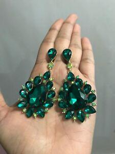 "3"" Big Green Emerald Gold Long Rhinestone Crystal Pageant Dangle Earrings Formal"
