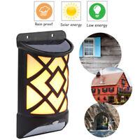 Solar LED Wall Flame Effect Light Motion Sensor Outdoor Garden Yard Lamp Decor