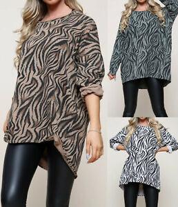 Ladies Womens Italian Oversized Lagenlook Zebra Print Tunic Tops Shirt Dress