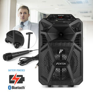 """Small 8"""" Portable PA Speaker System with Bluetooth Audio, Lights and Microphone"""