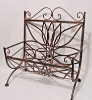 Brown Copper Antique style Wrought Iron Matel Magazine News Paper Rack Holder