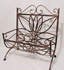 Antique style Brown Copper Wrought Iron Matel Magazine / News Paper Rack Holder