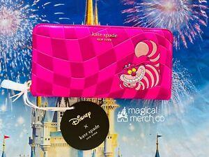 2021 Disney x Kate Spade Alice In Wonderland Cheshire Cat Zip Around Wallet