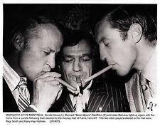 Jean Beliveau-Wire Photo of HOF Induction w/Gordie Howe & Boom Boom Geoffrion