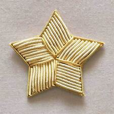 6 Star Appliques. Light Gold Bullion. Hand-Embroidery
