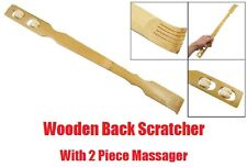 Large 2in1 Wooden BACK SCRATCHER Massager Twin Roller Wheel Massage Stick Wood