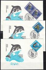 Soviet Russia 1991 set of 5 FDC covers Black Sea fish marine medusa Dolphins