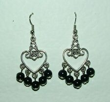 HEART SHAPED SILVER PLATED CHANDELIER FILIGREE EARRINGS WITH BLACK GLASS DROPS