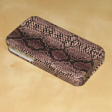Marron Rabattable Faux Serpent étui en cuir pour iPhone 4S 4S