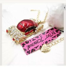 Betsey Johnson Necklace CAR RETRO CUBA RED Enamel Crystal Sports Gold Adorable