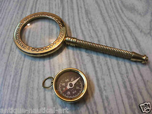 Brass Magnifying Glass Vintage Magnifier Antique Compass