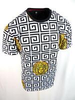 Mens Niko T- Shirt White Black Medusa Style Stripe Design Slim Fit Stretch