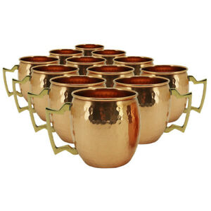 NEW! SET OF 12 100% COPPER HAMMERED MOSCOW MULE MUG - 18oz - HANDMADE IN INDIA