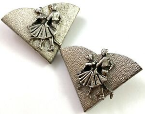 VINTAGE COLLAR TIP ACCENT PAIR DANCING COUPLE SQUARE DANCE