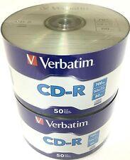 100 VERBATIM Blank CD-R CDR Logo Branded 52X 700MB 80min Recordable Media Disc