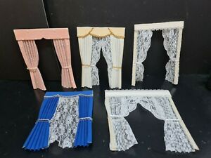 dolls house accessories 5x job lot of curtains  1.12th