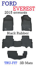 To suit Ford Everest Black Rubber 3D Floor Mats - 2015 - 2018