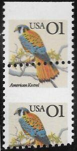 2476 One Cent Flag American Kestrel Top Margin Misperf.