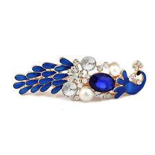 Royal Blue Ladies Crystal Peacock Pearl Hair Pin Barrettes Hairpin Clip Oil Drip