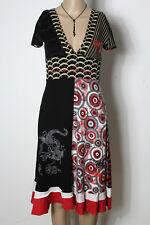DESIGUAL Kleid Gr. XS schwarz-bunt Muster Kurzarm Shirt Kleid mit Stickereien