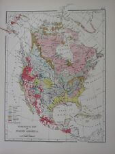 1897 VICTORIAN MAP NORTH AMERICA GEOLOGICAL TERTIARY JURASSIC TRIASSIC VOLCANIC