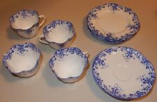Shelley China Dainty Blue Cups Saucers Luncheon Plates READ