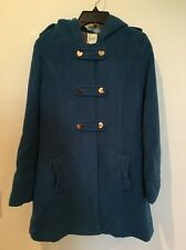 YUMI Girls Winter Coat Classic Peacoat Turquoise Teal Hood Heart Size 13 14
