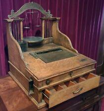 Antique Complete Working Oak Cashier Cash Register Co with Metal Scale LA 1915