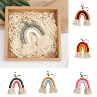 Women Fashion Woven Keychain Tassel Cloud Keyring Bag Pendant Vintage