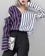 Women's Korean Style Autumn Fashion Stripe Pattern Casual Long Sleeve Shirt Top