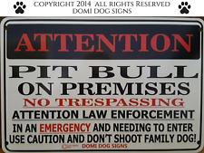 "Metal Attention Pit Bull Dog Sign For FENCE ,Beware Of Dog 8""x12"""