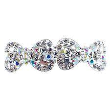 USA BARRETTE Rhinestone Crystal Hair Clip Hairpin Elegant Bow Stunning Silver 2