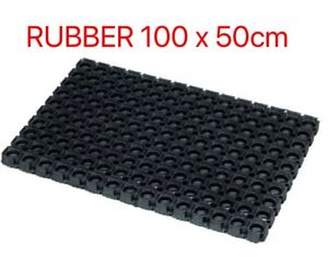 JVL Large Rubber Ring Heavy Duty Outdoor Entrance Door Mat 50 x 100 cm