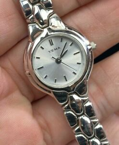 VTG Yema Ladies Women Small Silver Tone Stainless Steel Watch Charity DS54