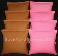 Cornhole Bean Bags Sienna & Light Pink 8 All Weather Resin Filled