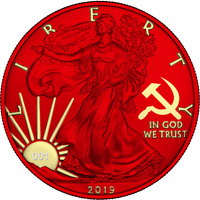 USA 2019 $1 Liberty Space Red Edition - PAINT IT RED 1Oz Silver Coin