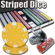 New 1000 Striped Dice 11.5g Clay Poker Chips Set w/ Aluminum Case - Pick Chips!