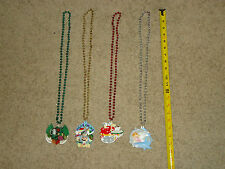 lot of 4 Mardi Gras Bead Necklace with specialty medallions NEW ORLEANS LA.  (A)
